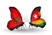 Dos mariposas con banderas de marruecos y togo — Foto de Stock