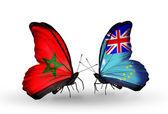 Dos mariposas con banderas de marruecos y tuvalu — Foto de Stock