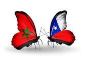 Dos mariposas con banderas de marruecos y chile — Foto de Stock
