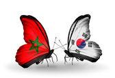 Dos mariposas con banderas de marruecos y corea del sur — Foto de Stock
