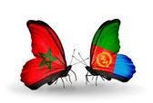 Two butterflies with flags  Morocco and Eritrea — Stock Photo