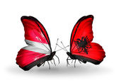 Two butterflies with flags of Latvia and Albania — Stock Photo