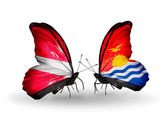 Two butterflies with flags of  Latvia and  Kiribati — Stock Photo