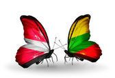 Two butterflies with flags of Latvia and Lithuania — Stock Photo