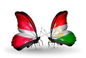 Butterflies with flags of Latvia and Tajikistan — Foto de Stock
