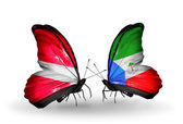 Butterflies with flags of Latvia and Equatorial Guinea — Стоковое фото