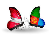 Butterflies with flags of Latvia and Eritrea — Stock Photo