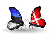 Butterflies with flags of Estonia and Denmark — Stock Photo