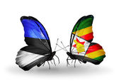 Butterflies with flags of Estonia and Zimbabwe — Stock Photo