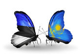 Butterflies with flags of Estonia and Kazakhstan — Stock Photo