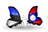 Butterflies with flags of Estonia and Laos — Stock Photo