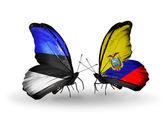 Mariposas con banderas de estonia y ecuador — Foto de Stock