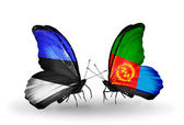 Butterflies with flags of Estonia and Eritrea — Stock Photo