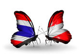 Butterflies with flags of Thailand and Austria — Stock Photo