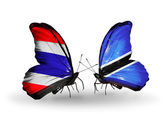 Butterflies with flags of Thailand and Botswana — 图库照片