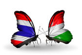 Two butterflies with flags of Thailand and Hungary — Foto de Stock