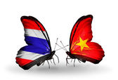 Two butterflies with flags of Thailand and Vietnam — Stock Photo
