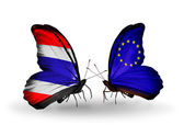 Two butterflies with flags of  Thailand and European Union — Stock Photo