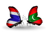 Butterflies with flags on wings of Thailand and Maldives — Stock Photo