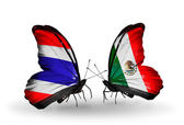 Butterflies with flags on wings of Thailand and Mexico — Stockfoto