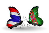 Butterflies with flags on wings of Thailand and Turkmenistan — ストック写真
