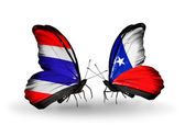 Butterflies with Thailand and Chile flags on wings — Stock Photo