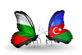 Butterflies with Bulgaria and  flags on wings — Stock Photo