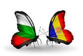 Butterflies with Bulgaria and Andorra flags on wings — Stock Photo