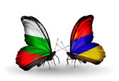 Butterflies with Bulgaria and Armenia flags on wings — Stock Photo