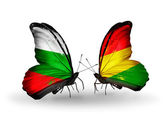 Butterflies with Bulgaria and Bolivia flags on wings — Stock Photo