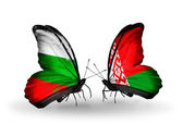 Butterflies with Bulgaria and Belarus flags on wings — Foto de Stock