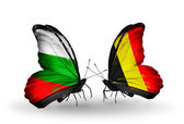 Butterflies with Bulgaria and Belgium flags on wings — Stock Photo
