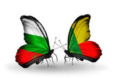 Butterflies with Bulgaria and Benin flags on wings — Stock Photo