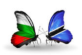 Butterflies with Bulgaria and Botswana flags on wings — Stock Photo