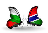 Butterflies with Bulgaria and Gambia flags on wings — Stock Photo