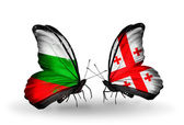 Butterflies with Bulgaria and Georgia flags on wings — Stock Photo