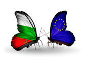 Butterflies with Bulgaria and European Union flags on wings — Stock Photo