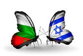 Butterflies with Bulgaria and Israel flags on wings — Stock Photo