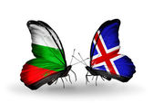 Butterflies with Bulgaria and Iceland flags on wings — Stock Photo