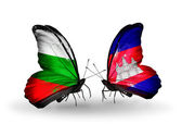Butterflies with Bulgaria and Cambodia flags on wings — Foto de Stock