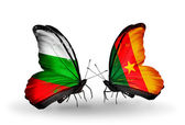 Butterflies with Bulgaria and Cameroon flags on wings — Stock Photo