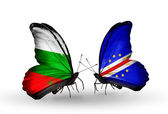Butterflies with Bulgaria and Cape Verde flags on wings — Stock Photo