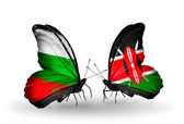 Butterflies with Bulgaria and Kenya flags on wings — Stock Photo