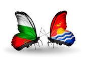 Papillons avec des drapeaux de Bulgarie et kiribati sur ailes — Photo