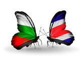 Butterflies with Bulgaria and Costa Rica flags on wings — Stock Photo
