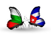 Butterflies with Bulgaria and Cuba flags on wings — Stock Photo