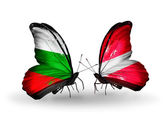 Butterflies with Bulgaria and Latvia flags on wings — Stock Photo