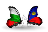 Butterflies with Bulgaria and Liechtenstein flags on wings — Stock Photo