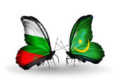 Butterflies with Bulgaria and Mauritania flags on wings — Stock Photo