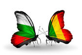 Butterflies with Bulgaria and Mali flags on wings — Stock Photo